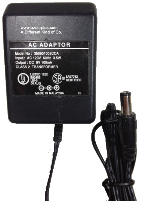 350901002COA AC ADAPTER 9VDC 100mA Used -(+)- Straight Round Ba
