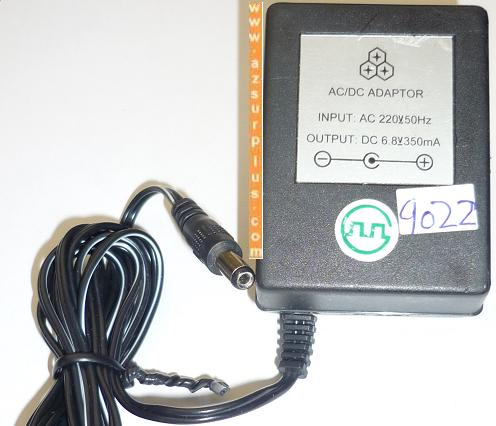 6.8VDC 350mA AC ADAPTER USED -(+) 2x5.5x11mm ROUND BARREL POWER