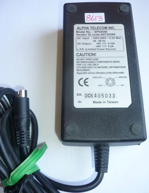 ALPHA TELECOM SP62040 AC ADAPTER +9V 0.8A -40VDC 0.2A USED 4PIN