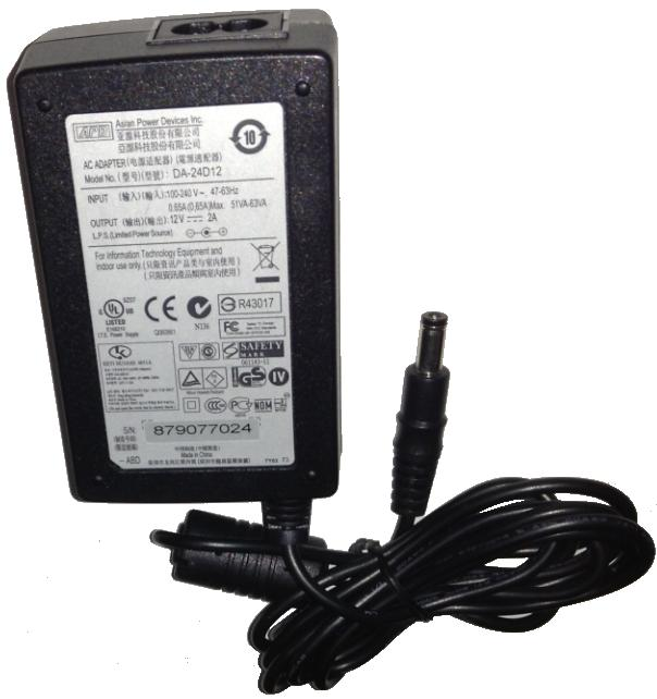 APD ASIAN POWER DEVICES DA-24D12 AC ADAPTER 12V DC 2A Used 2.2x5