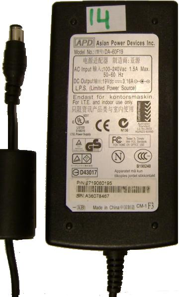 APD DA-60F19 AC Adapter 19VDC 3.16A -(+) 3x6.5mm 100-240vac Use