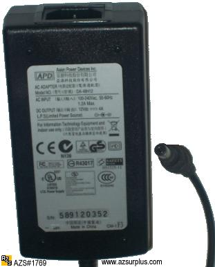 ASIAN POWER DEVICES INC DA-48H12 AC DC ADAPTER 12V 4A POWER SUPP