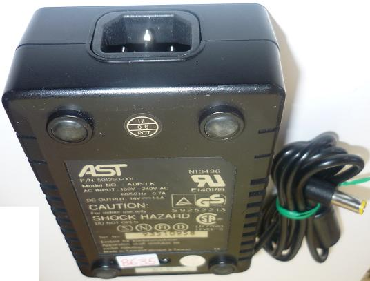 AST ADP-LK AC ADAPTER 14VDC 1.5A USED -(+)- 3x6.2mm 5011250-001
