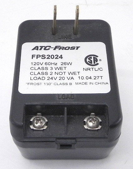 ATC-FROST FPS2024 AC ADAPTER 24VAC 20VA USED PLUG IN POWER SUPPL