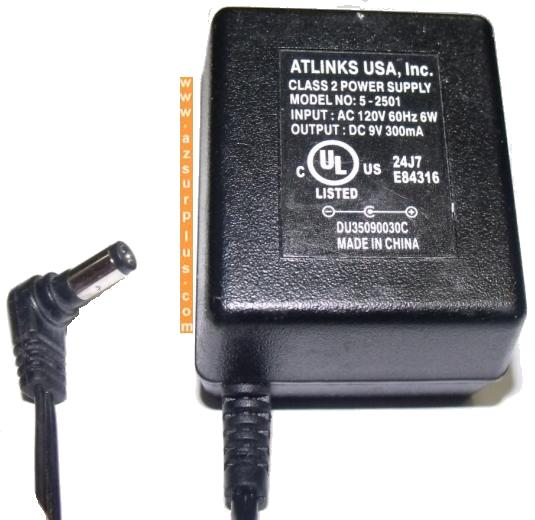 ATLINKS 5-2501 AC ADAPTER 9V 300mA -(+)- 2x5.5mm 120vac used PLU