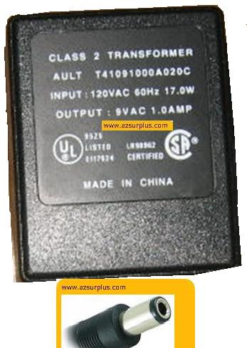 AULT T41091000A020C ADAPTER 9V 1A PLUG IN POWER SUPPLY CLASS 2 T