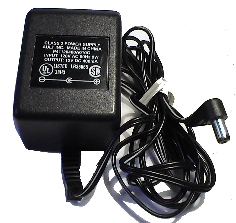 AULT P41120400A010G AC ADAPTER 12V DC 400mA USED 2.5 x 5.4 9.6mm
