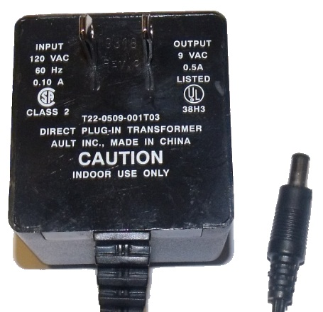 AULT T22-0509-001T03 AC ADAPTER 9VAC 0.5A US ROBOTICS USED ~(~)