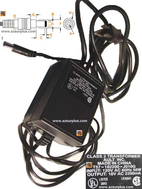 AULT T57-182200-J010G AC ADAPTER 18V AC 2200mA USED