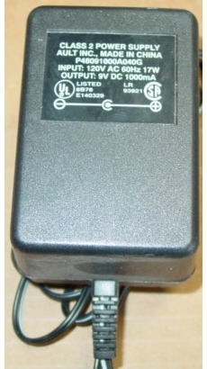 Ault P48091000A040G AC ADAPTER 9VDC 1A USED -(+) 2.1x5.5mm POWER