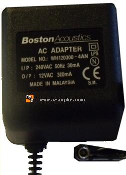 BOSTON WH120300-4AN AC ADAPTER 12VAC 300mA USED AUSTRALIA PLUG