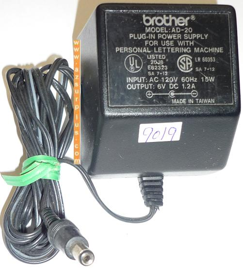 BROTHER AD-20 AC ADAPTER 6VDC 1.2A USED -(+) 2x5.5x9.8mm ROUND B