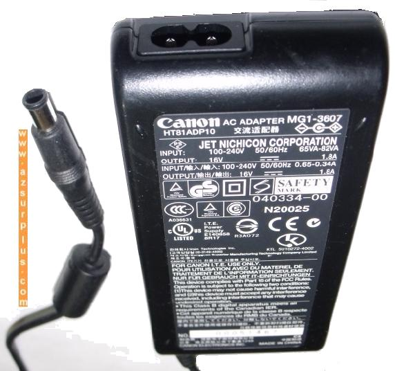 CANON MG1-3607 AC ADAPTER 16V 1.8A POWER SUPPLY