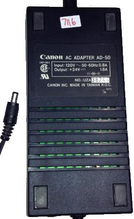 CANON AD-50 AC ADAPTER -(+)- +24VDC 1.8A USED 2x5.5mm STRAIGHT R