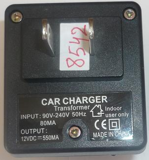 CAR CHARGER 12VDC 550mA USED PLUG IN TRANSFORMER POWER SUPPLY 90