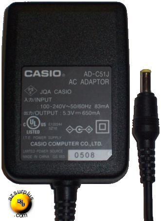 CASIO AD-C51J AC ADAPTER 5.3VDC 650mA POWER SUPPLY