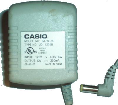 CASIO M/N-90 AC ADAPTER 12VDC 200mA 6W POWER SUPPLY