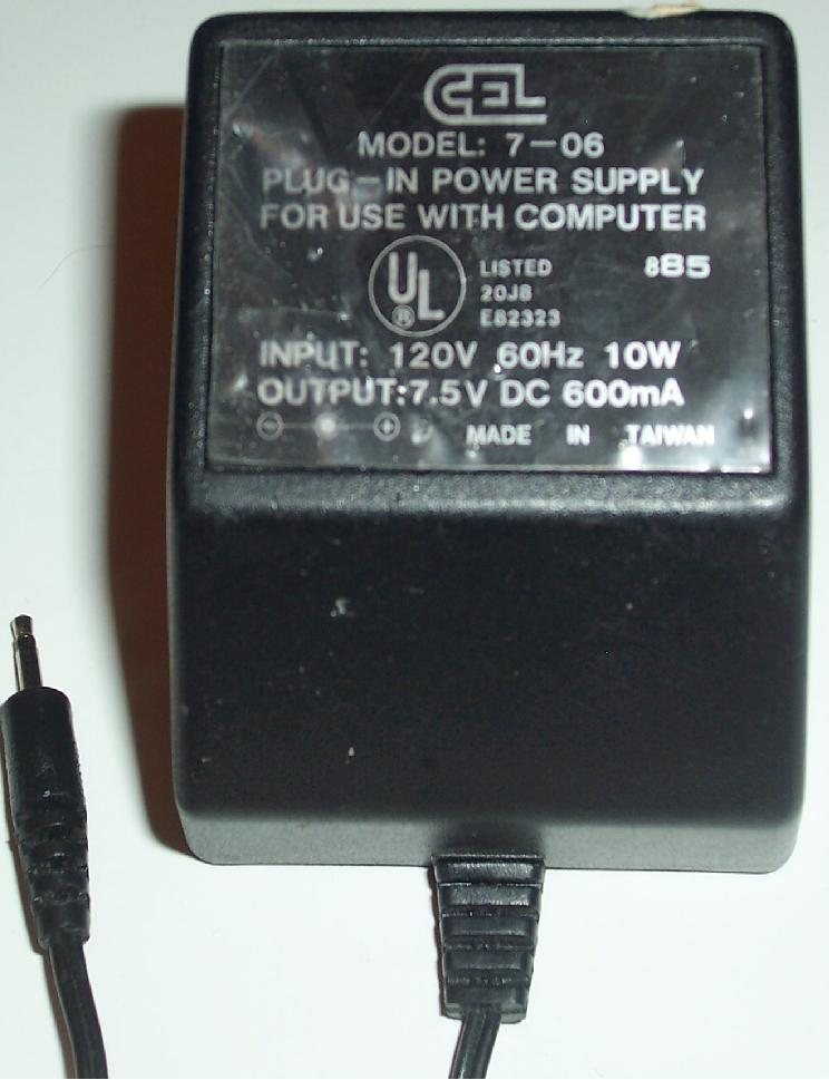 CEL 7-06 AC DC ADAPTER 7.5V 600mA 10W E82323 POWER SUPPLY