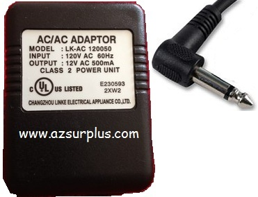 CHANGZHOU LINKE LK-AC-120050 AC ADAPTER 12VAC 500mA Used ~(~) 3.