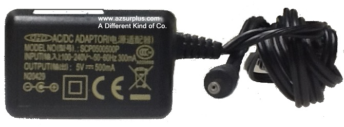 CHD SCP0500500P AC ADAPTER 5VDC 500mA Used -(+)- 0.5 x 2.4 x 9 m