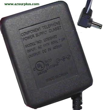 COMPONENT TELEPHONE U093040D AC ADAPTER 9VDC 400mA USED POWER SU