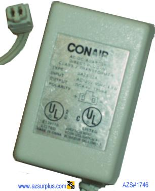 CONAIR SA28-12A AC ADAPTER 4.4VDC 120mA 4.8W POWER SUPPLY