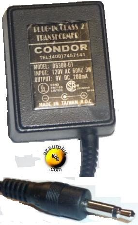 CONDOR D6300-01 AC ADAPTER 9VDC 200mA PLUG IN CLASS 2 TRANSFORME