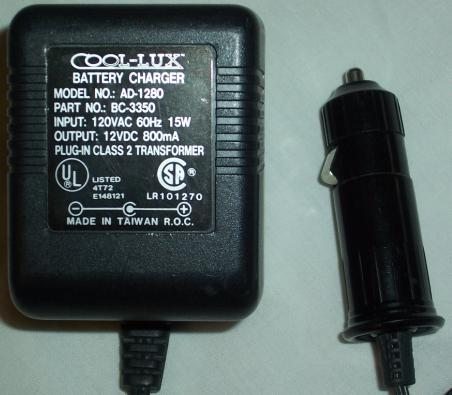 COOL-LUX AD-1280 AC ADAPTER 12VDC 800MA BATTERY CHARGER