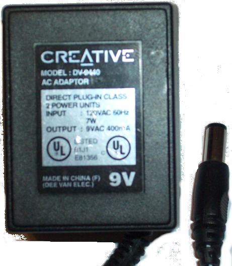 CREATIVE DV-9440 AC ADAPTER 9V 400MA POWER SUPPLY