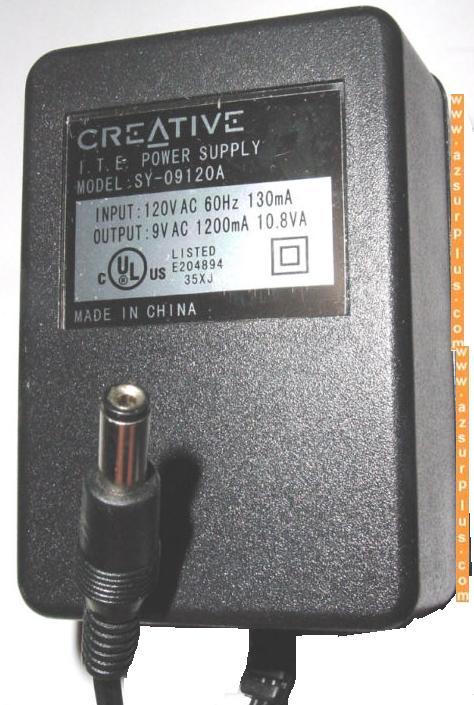 CREATIVE SY-09120A AC ADAPTER 9VAC 1200mA CLASS 2 TRANSFORMER