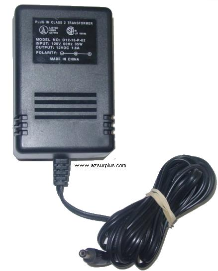 D12-16-P-02 AC Adapter 12Vdc 1.6A -(+) 2x5.5mm 120vac Power Supp