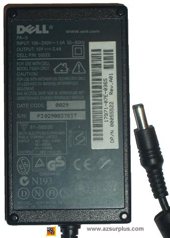 DELL PA-3 AC ADAPTER 19Vdc 2.4A 2.5x5.5mm -(+) POWER SUPPLY