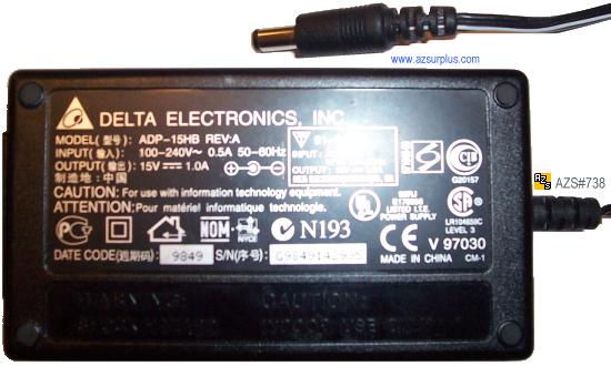 DELTA ADP-15HB REV B AC ADAPTER 12V 1.25A USED 3 x 5.5 x 11mm