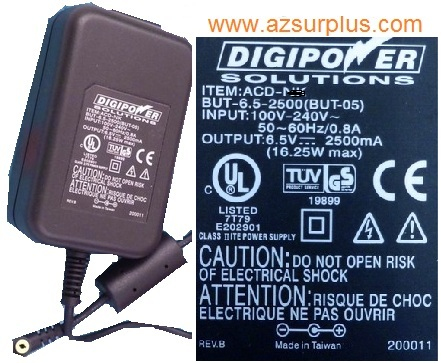 DIGIPOWER SOLUTIONS ACD-0L AC ADAPTER 6.5V 2500mA OLYMPUS DIG