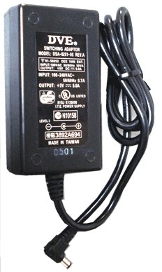 DVE DSA-0251-05 AC ADAPTER 5VDC 5A USED 2.5x5.5x9mm 90 DEGREE