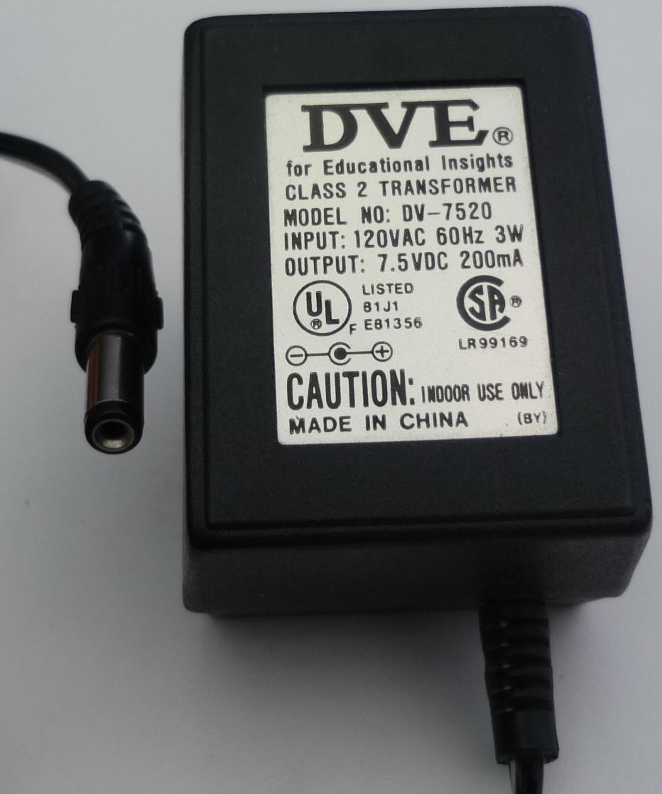 DVE DV-7520 AC ADAPTER 7.5VDC 200mA USED -(+)2x5.5 ROUND BARREL
