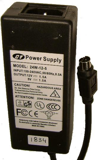 DY 24W-12-5 AC DC Adapter 5V 12V 1.5A 6Pin Mini Din DUAL VOLTAGE
