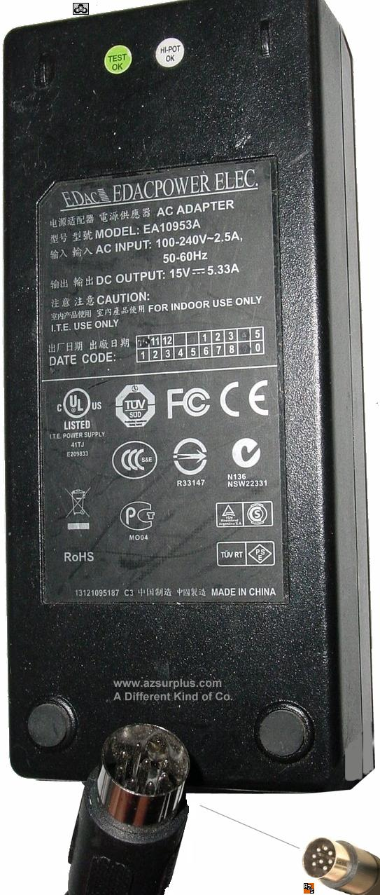 EDAC EA10953A AC ADAPTER 15VDC 5A 8Pin 13mm din Used POWER SUPPL