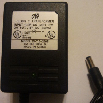 ENG 35-7.5-250B AC ADAPTER 7.5VDC 250MA USED -(+) 2x5.5x12mm Rou