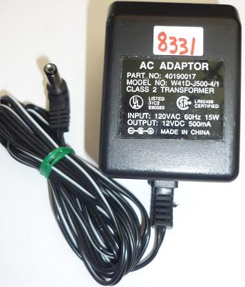 W41D-J500-4/1 AC ADAPTER 12VDC 500mA 135W USED -(+) 2x5.5mm powe
