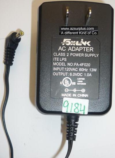 FOXLINK FA-4F020 AC ADAPTER 6VDC 1A USED -(+) 1.5x4x8.4mm 90° RO