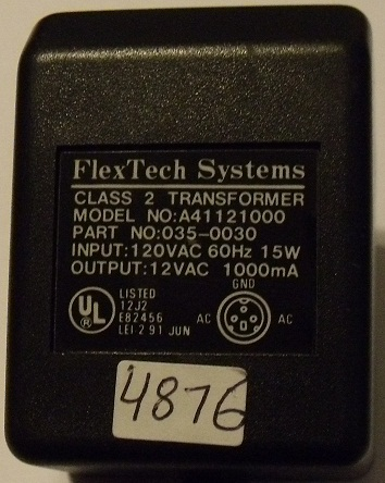 FLEXTECH SYSTEM A41121000 AC ADAPTER 12V 1000mA DIRECT PLUG IN C