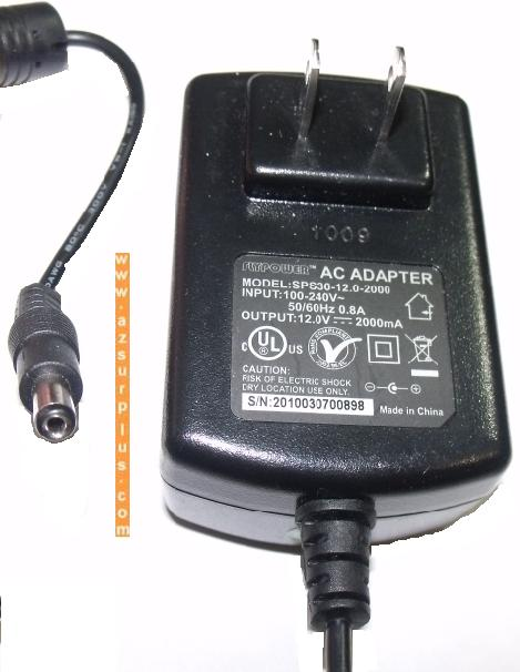 Flypower SPS30-12.0-2000 AC ADAPTER 12VDC 2A -(+) 2x5.5mm 100-24