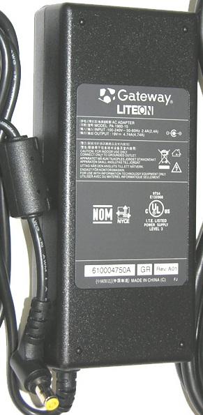 GATEWAY LITEON PA-1900-15 AC ADAPTER 19VDC 4.74A USED