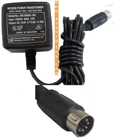 GENERAL DATACOMM WK190600-1AS AC ADAPTER 19VAC 0.6A 11.4VA USED