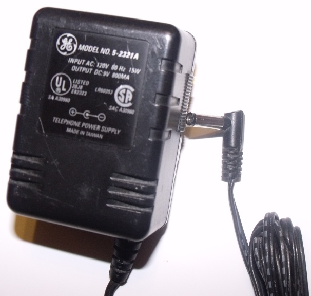 GE 5-2321A AC ADAPTER DC 9V 800mA 90 Degree Right Angle 1.5 x 5