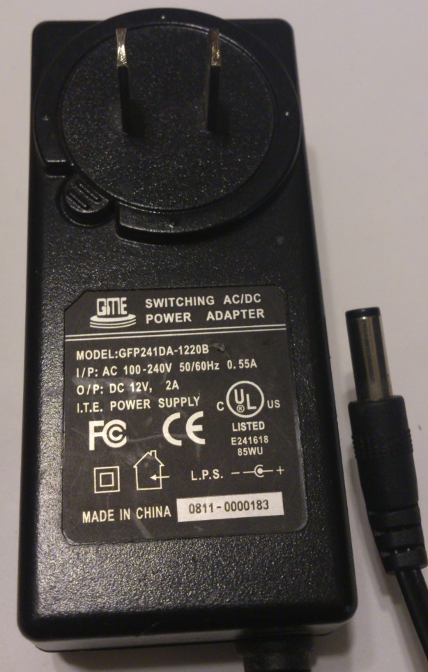GME GFP241DA-1220B AC ADAPTER 12VDC 2A USED 2x5.5x14mm -(+)-