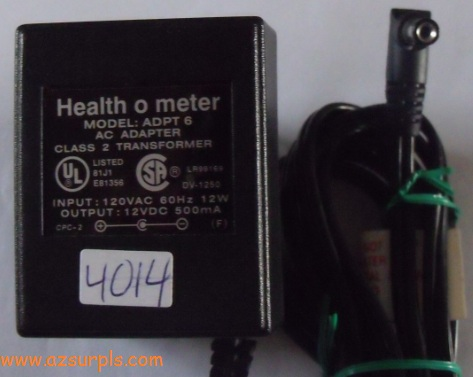 HEALTH O METER ADPT 6 AC ADAPTER 12V DC 500mA CLASS 2 TRANSFORME