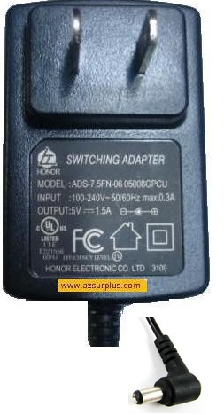HONOR ADS-7.FN-06 05008GPCU AC ADAPTER 5V 1.5A SWITCHING POWER