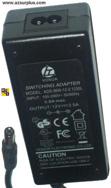 HONOR ADS-36W-12-2 1230L AC DC ADAPTER 12V 2.5A POWER SUPPLY